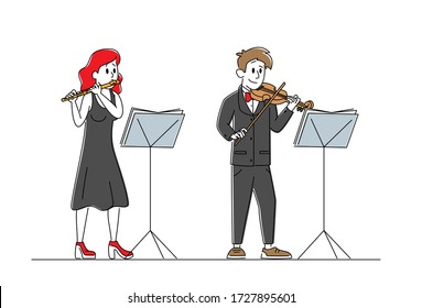 Musicians Characters with Instruments Perform on Stage with Violin and Flute. Symphony Orchestra Classical Music Concert, Performance on Philharmonic Scene, Ensemble. Linear Vector People Illustration