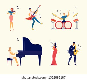 Musicians Characters Set. Jazz Rock Music Band Festival. Woman Playing Piano, Man Saxophone, Drums, Guitar, Musical Instruments. Flat Vector Cartoon Illustration