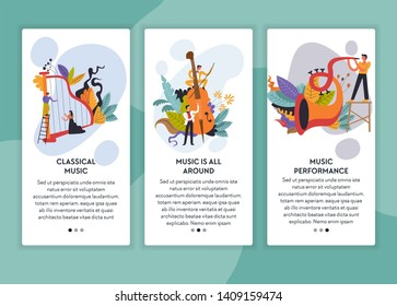 Musicians classical and jazz music performance web page templates vector concert harp violin and trumpet or saxophone musical instruments live sound online tickets order musicians Internet site show