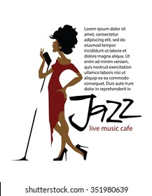 Musicians design concept set with jazz music players. Isolated flat vectors. Woman singer. Vocalist. Use for jazz festival poster, jazz club, live music cafe and web design.