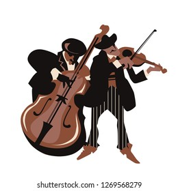 Musicians design concept set with pop rock jazz classical music players. Isolated flat vectors. Easy editable elements. Isolated on white background. Trumpet, violin, contrabass.