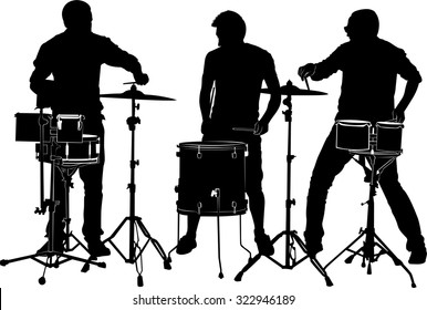 musicians drummers on a white background
