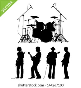 Musicians and drums silhouettes vector