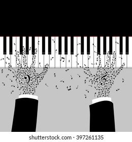 Musician's hands are playing on the piano. Silhouette with note keys. Tattoo of treble and bass clef on the hands. Music poster