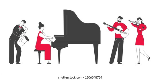 Musicians with Instruments Perform on Stage Symphony. Orchestra Playing Classical or Jazz Concert on Philharmonic Scene, Instrumental Ensemble Live Music. Cartoon Flat Vector Illustration, Line Art