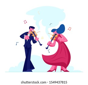 Musicians with Instruments Perform on Stage with Violins, Symphony Orchestra Classical Music Concert, Performance on Philharmonic Scene, Instrumental Duet Ensemble. Cartoon Flat Vector Illustration