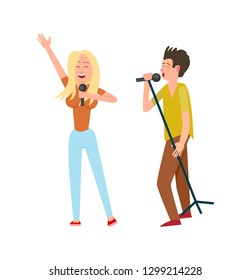 Musicians man and woman, singing together duo vector. Female and male performers holding microphones, entertainment concert. Blonde and brunette vocalists