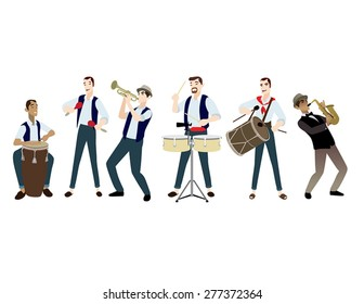 musicians music people instruments traditional jazz salsa latino isolated vector set