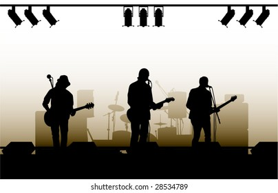 musicians on a scene and play guitars