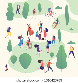 Musicians in park. Music band with guitars and musical instruments performing outdoor surrounded by trees. Vector illustration