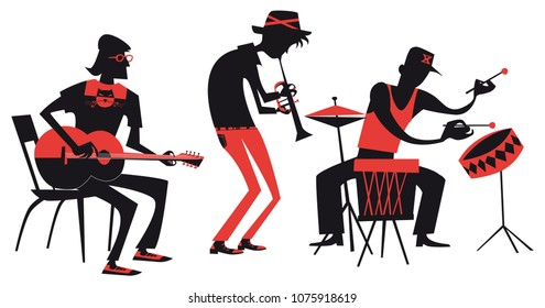 musicians playing on musical instruments, vector flat design, silhouettes illustration isolated