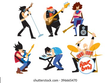 Musicians rock group isolated on white background