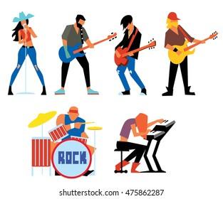 Musicians rock group isolated on white background. Singer, guitarist, drummer, solo guitarist, bassist, keyboardist. Rock band. Vecor illustration.