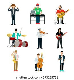 Musicians showman flat web infographic concept vector icon set. Group of creative young people playing instrument scene concert. DJ bard drummer rock guitarist entertainer emcee saxophonist violinist