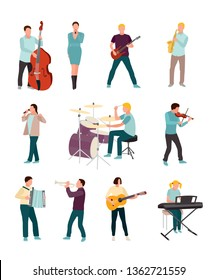 Musicians and singers vector characters set. Cartoon man, woman. Music and singing art. Cello, guitar, drums, synthesiser. Orchestra, rock band, soloist, jazz players with musical instruments