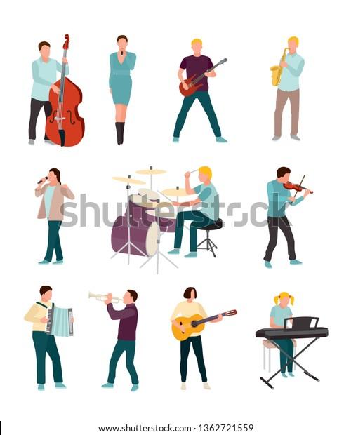 Musicians Singers Vector Characters Set Cartoon Stock Vector