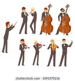 Musicians of symphonic orchestra and conductor, people playing various musical instruments vector Illustration on a white background