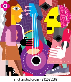Musicians vector illustration. Woman playing guitar, man listening music.
