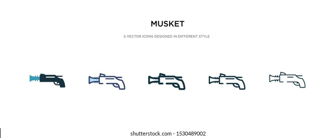 musket icon in different style vector illustration. two colored and black musket vector icons designed in filled, outline, line and stroke style can be used for web, mobile, ui