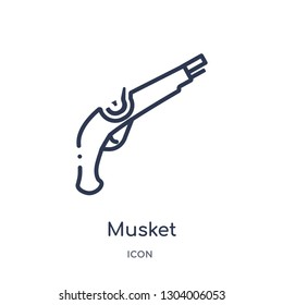 musket icon from weapons outline collection. Thin line musket icon isolated on white background.