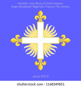 Musketeer cross with fleurs-de-lis over sun in splendour. Heraldic symbol of 2nd company of French King's guard. Shapes are based on historical references. Flat vector template for costume designs.