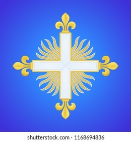 Musketeer Cross fleury. 2nd company sign. Guard of Louis XIV of France aka Sun King. White cross with gold fleurs-de-lis over sun in splendour. Design is based on museum references. Vector embroidery.