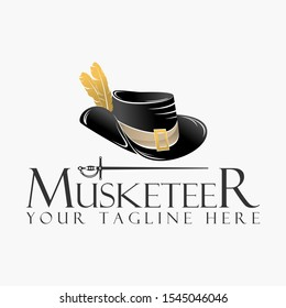 Musketeer hat with fur and sword shape design