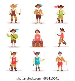 Musketeer. Vector. Cartoon. Isolated art on white background. Flat.