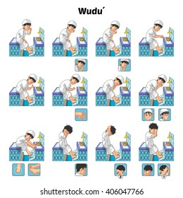 Muslim Ablution or Purification Ritual Guide Step by Step Using Water Perform by Boy Vector Illustration