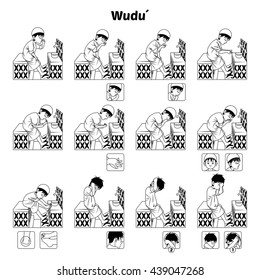 Muslim Ablution or Purification Ritual Guide Step by Step Using Water Perform by Boy Outline Version Vector Illustration