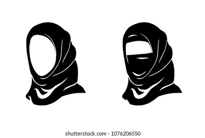 Muslim Arab Hijab woman. Vector Islam Hijab - Arabian veil, yashmak, paranja. Logo of the eastern Oriental woman face Isolated on white background