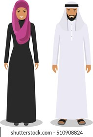 Muslim arab man and woman standing together in traditional islamic clothes in flat style on white background. Vector illustration.
