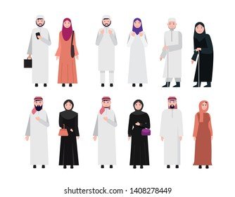 Muslim arabic people on white background. flat character design vector illustration