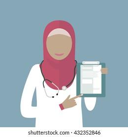 Muslim arabic woman doctor in hijab isolated. Medicine icon. Vector illustration flat design