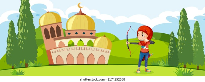 A muslim archery traning in front of mosque illustration