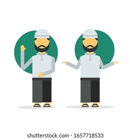 Muslim avatar vector illustration wearing sarong in different gestures. Flat style illustration.