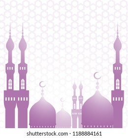 The Muslim background. Islam, the Arabian ornament. Mosque and minaret. For the inscription Koran, Sunnah, hadith. Flat style art. 1