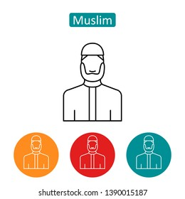 Muslim bearded man outline icons. Editable stroke arab prayer sign for website or mobile application. Islam religion symbol. Eastern spiritual culture vector illustration isolated on white background.
