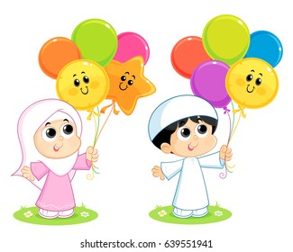 a Muslim boy and girl  are Celebrating Eid and carrying colorful balloons