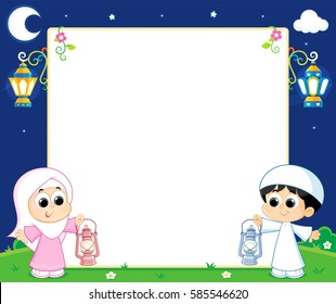 a Muslim boy and girl are Celebrating Ramadan and carrying Lanterns and between them an empty white board