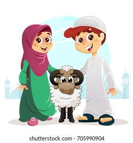 Muslim Boy and Girl with Sheep, Happy Feast Written in Arabic, Traditional Eid Concept