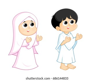 a Muslim boy and girl are wearing hajj clothes