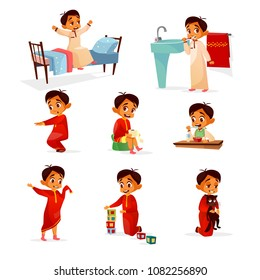 Muslim boy kid daily routine vector cartoon illustration. Flat design of boy child in morning bed, washing and brushing teeth in bathroom, exercises, lunch or playing toys and pet isolated characters