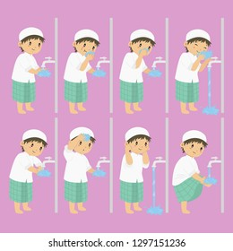 Muslim boy perform ablution steps, to clean self before prayer or shalat. Ablution steps for children vector collection
