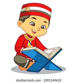 Muslim Boy Reading Quran.