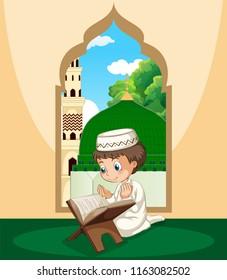 A muslim boy study qur'an illustration