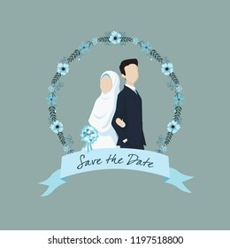 Muslim Bride and Groom Illustration with Ribbon Label and Flower Ornaments.
