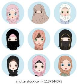 Muslim Business Woman Avatar Vector. Woman Face set. Hijab. Muslim Female Creative Placeholder. Modern Girl. Art Isolated Illustration. Profile Icon Set Social Network Flat