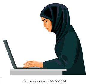 Muslim business woman in traditional clothing working on laptop. Vector illustration isolated in white background.
