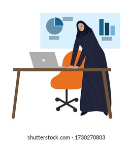 Muslim business woman in traditional ethnic hijab working in the office. Vector illustration in the flat cartoon style